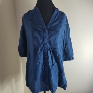 Coldwater Creek Short Sleeve V-neck Blue Blouse